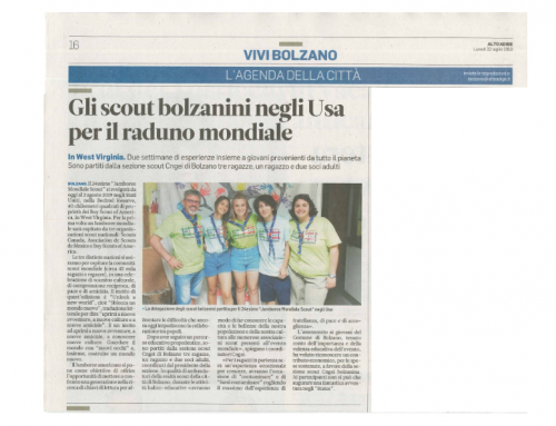 Articolo sull'Alto Adige del 22 luglio 2019