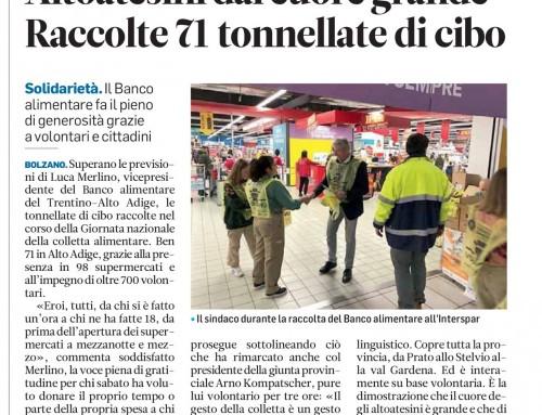 """Articolo sull'""""Alto Adige"""" del 2 dicembre 2019"""