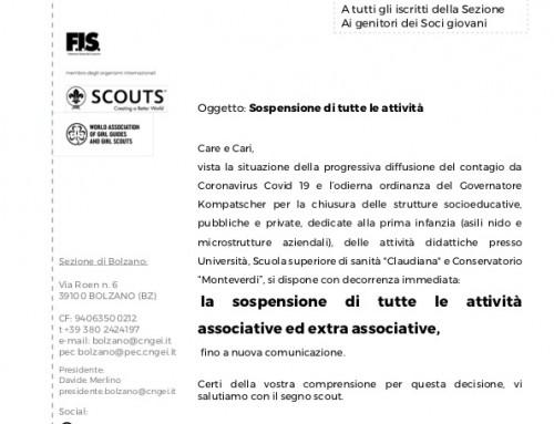 [Sezione] Sospensione attività COVID19